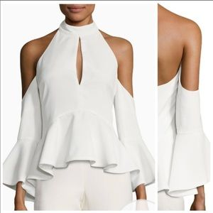NWOT C/meo Collective White Peplum Top M